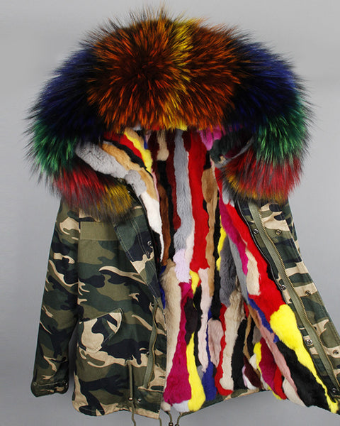 Camo Print Faux Fur Removable Parka Coat