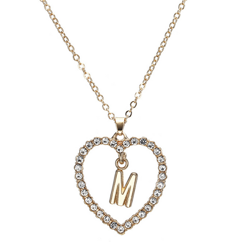 Gold Diamante Heart Shape Initial Pendant Necklace gallery 14