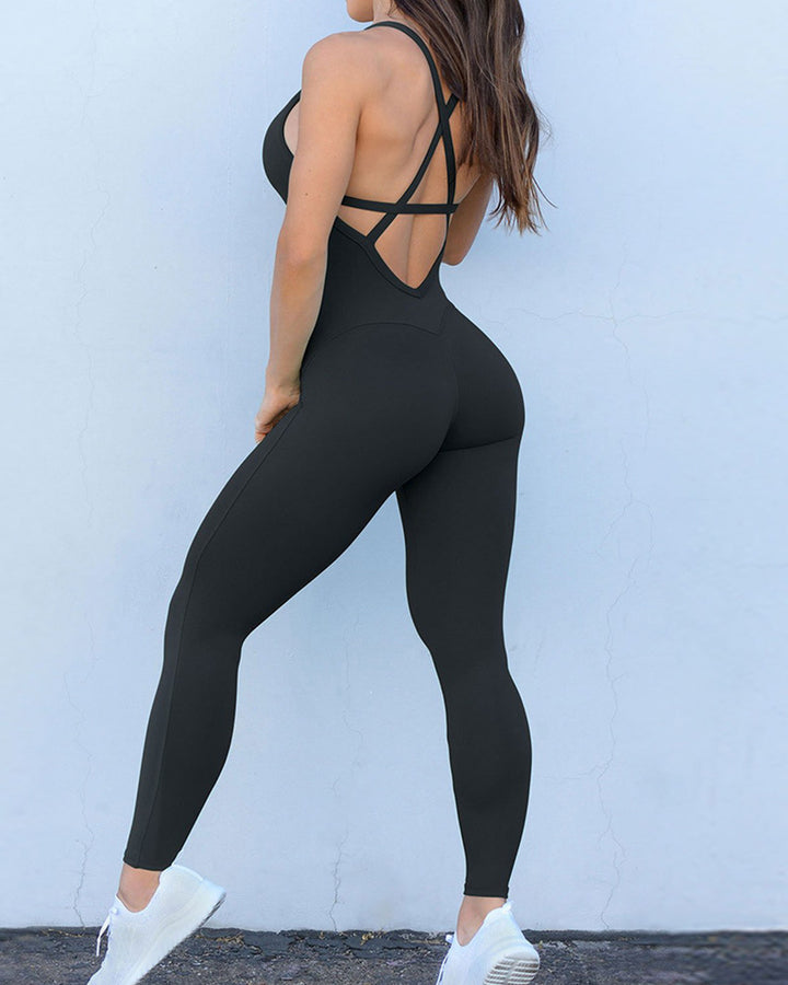 Criss Cross Cut Out Back Sports Jumpsuit gallery 2