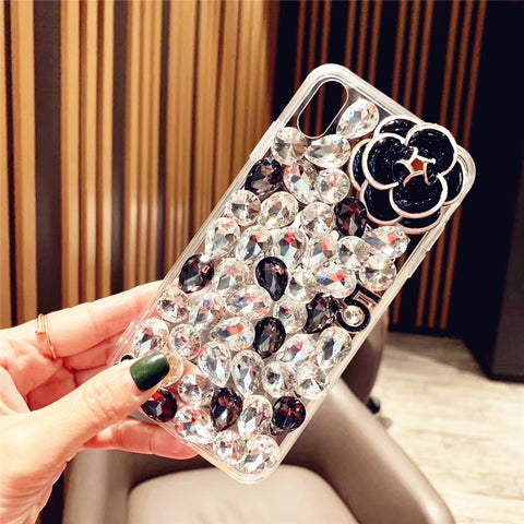 Camellia Full Rhinestone Cover Phone Case for Samsung gallery 4