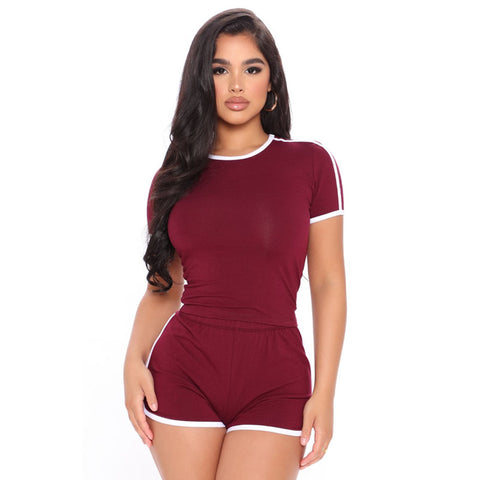 Athletic Trim Side High Waist Top & Short Set