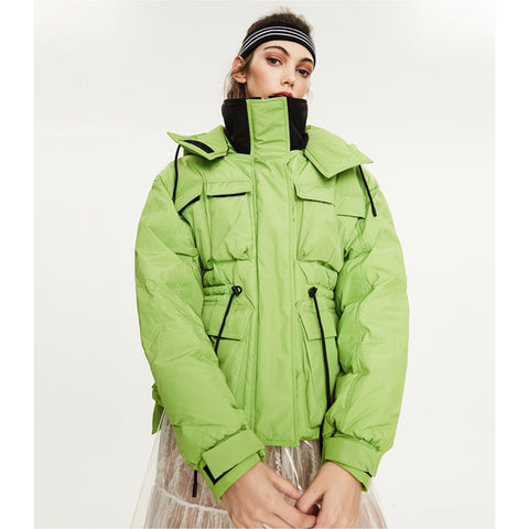 Chic Lime & Black Cargo Hooded Funnel Collar Mid-Long Puffer Jacket