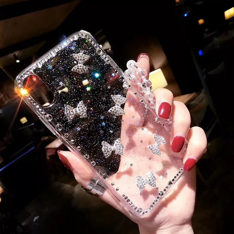 Little Bowknot Rhinestone Clear Transparent Phone Case for Samsung gallery 10