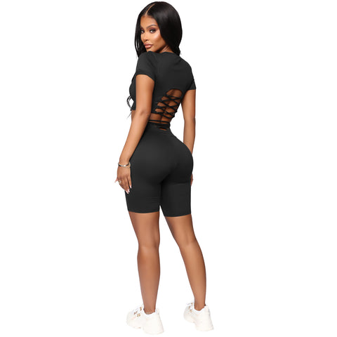 Round Neck Lace-Up Back High Waist Cropped Top & Short Set gallery 2