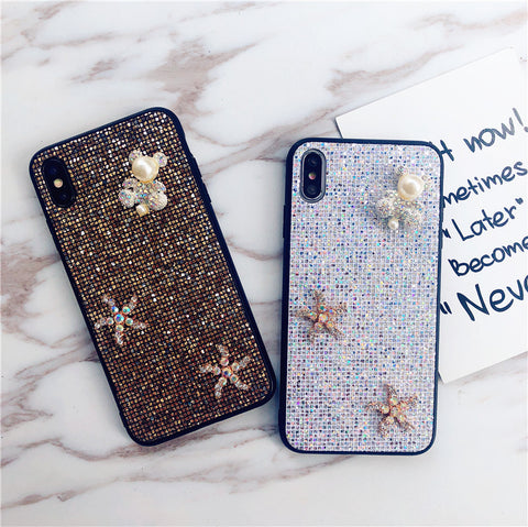 Bear & Starfish Pearl Deco Full Glittering Phone Case for Samsung gallery 1