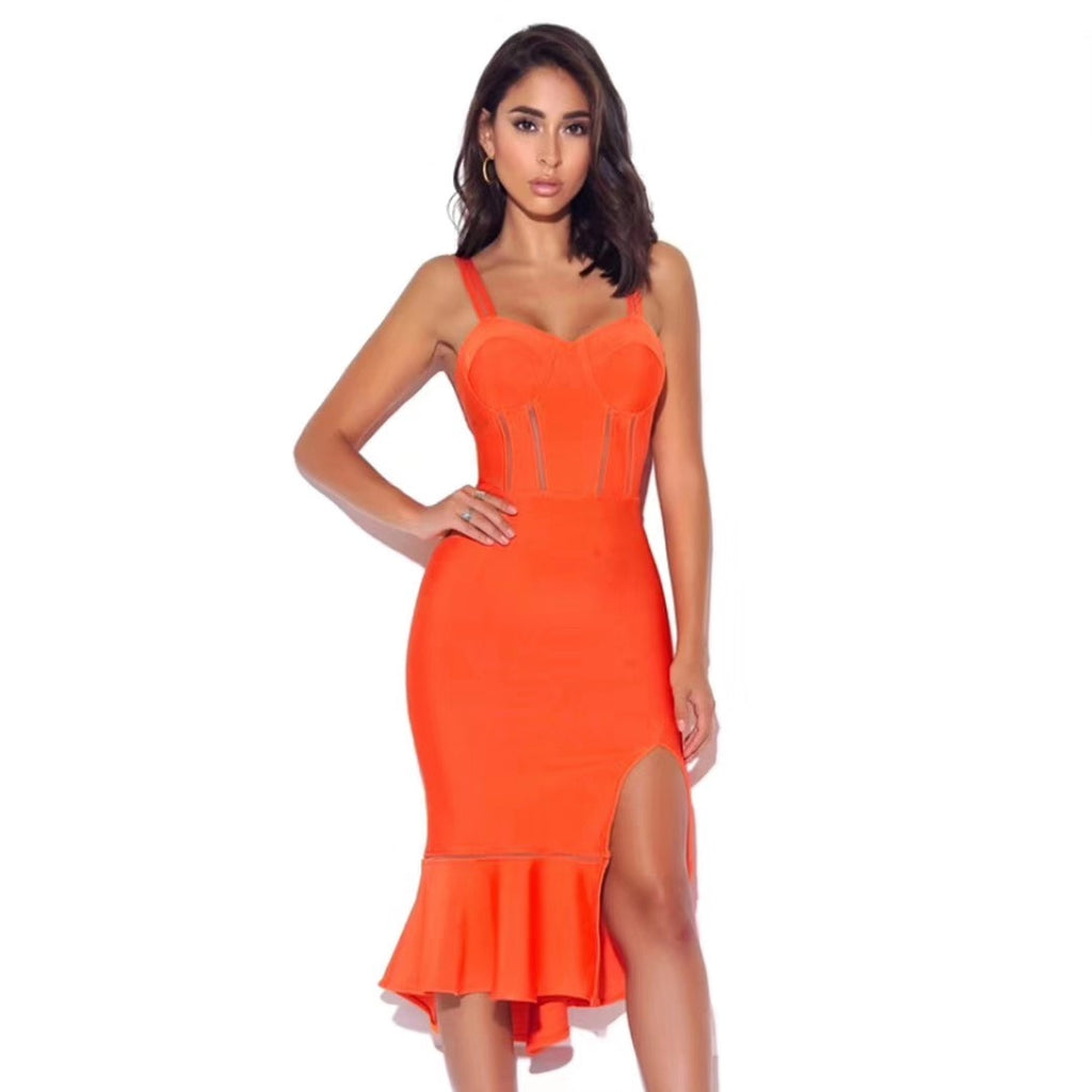 Orange Shape Frill Hem Split Leg Bandage Dress