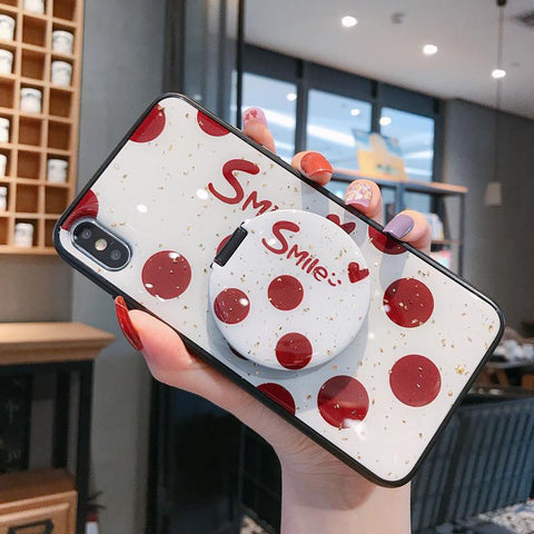Dot Pattern Phone Case for Samsung with Mirror Phone Holder gallery 3