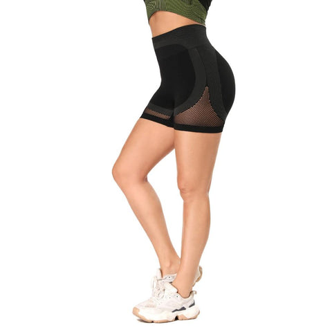 Mesh Panel Colorblock Wide Waistband Sports Shorts gallery 6