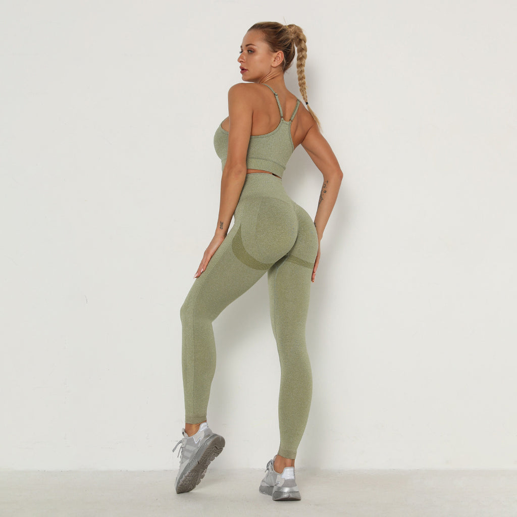 Ruched Backless Sports Bra & Leggings Set