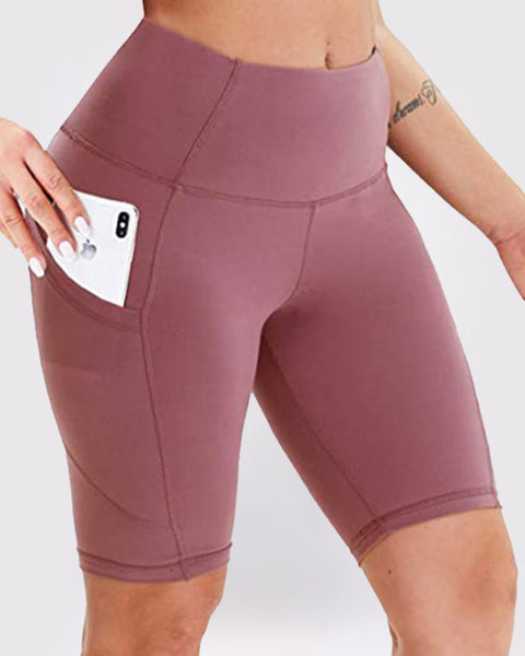 Solid Phone Pocket Butt Lifting Shorts gallery 4