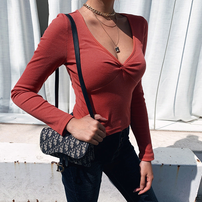 Solid Color Plunging Neckline Twist Front Ruched Fitted Knitwear