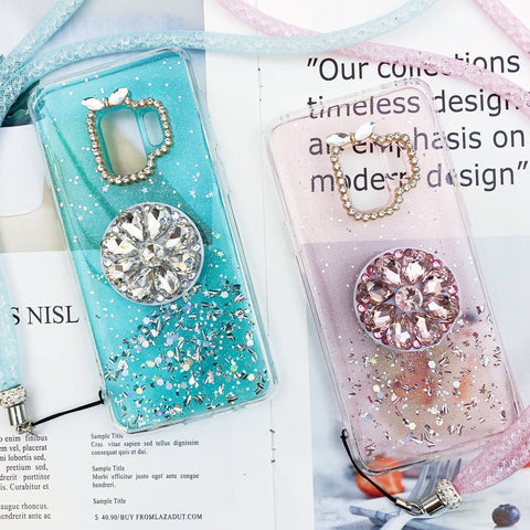Glitter Gold Foil Phone Case for Samsung with Phone Holder and Hand Strap gallery 2