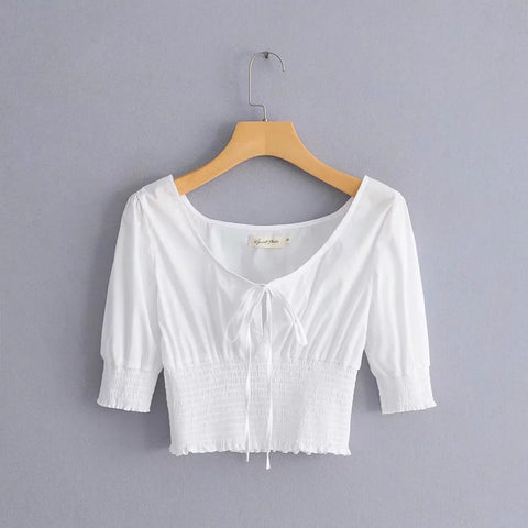 Ruched Elastic Waist Tie Front Cropped Shirt gallery 5