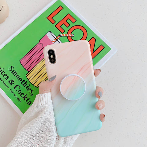 Gradient Shockproof Marble Phone Case for Samsung with Phone Holder gallery 12