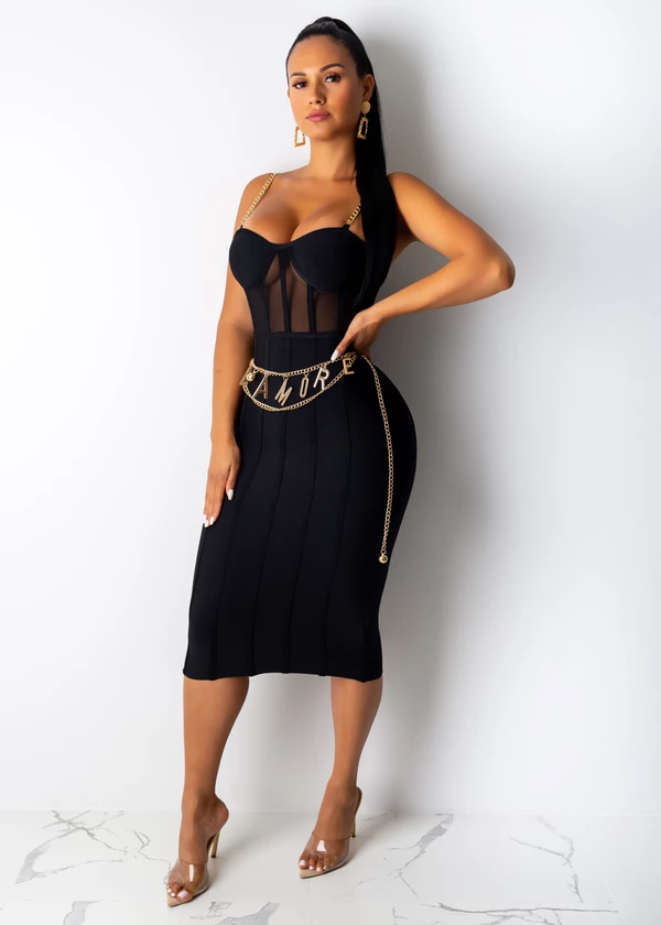 Bandage Metal Strap Midi Dress