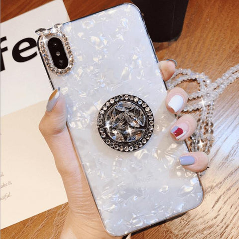 Elegant Shell Pattern Phone Case for Samsung with Artificial Rhinestone Diamond Phone Holder gallery 3