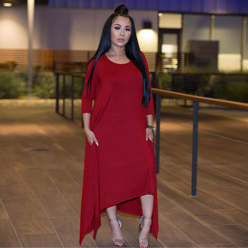 Curved Hem Long Sleeve Pocket Side Midi Dress