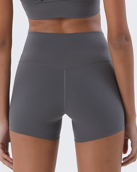 Solid High Waist Sports Shorts gallery 9