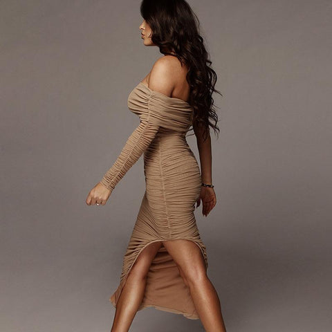 Chic One Sleeve Bandeau Mesh Ruched Split Side Bodycon Dress gallery 4