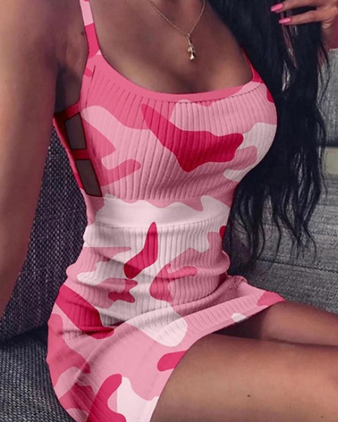 Camo Print Hollow Out Side Cami Bodycon Dress gallery 1