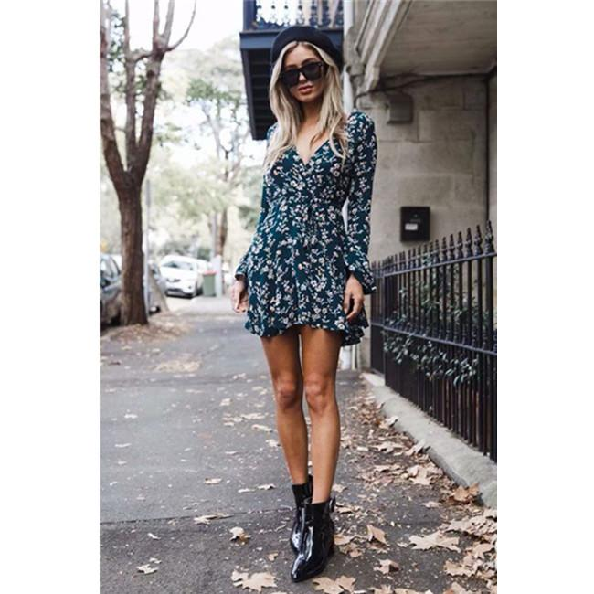 Floral Pattern Flare Sleeve Strap Front Tea Dress