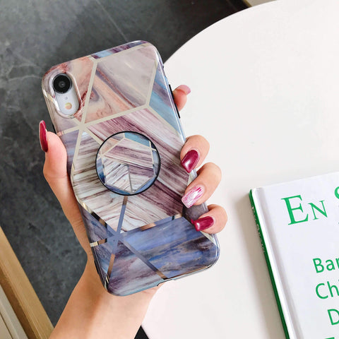 Rhombus Electroplate Marble Phone Case for Samsung with Phone Holder gallery 7