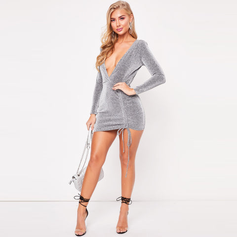 Silver Deep-V Tie Hem Jersey Dress gallery 4