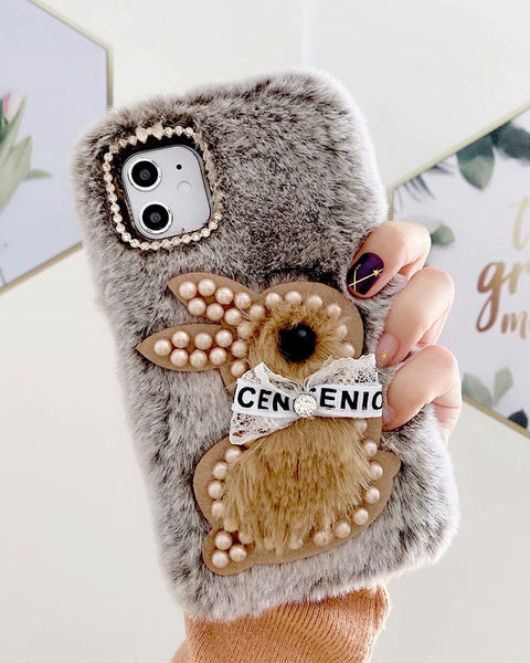 Chic Rabbit Pearl Bowknot Decorated iPhone Case