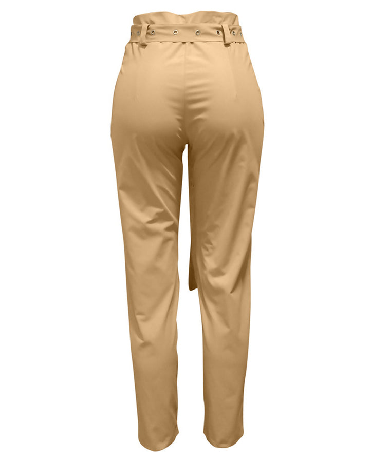 Solid Studded Button Front Pants With Belt gallery 6