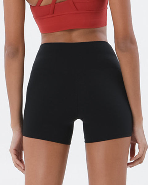 Solid High Waist Sports Shorts gallery 10