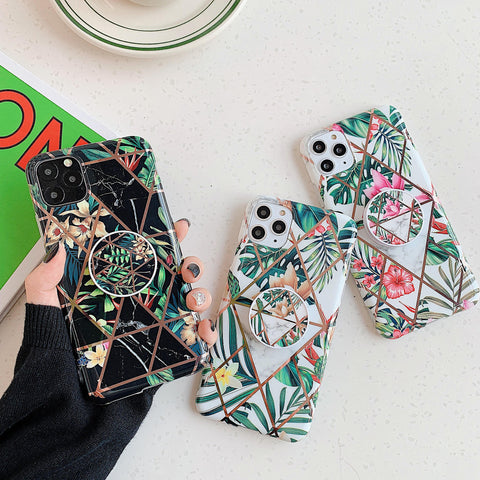 Electroplating Flowers & Leaves Print iPhone Case with Phone Holder