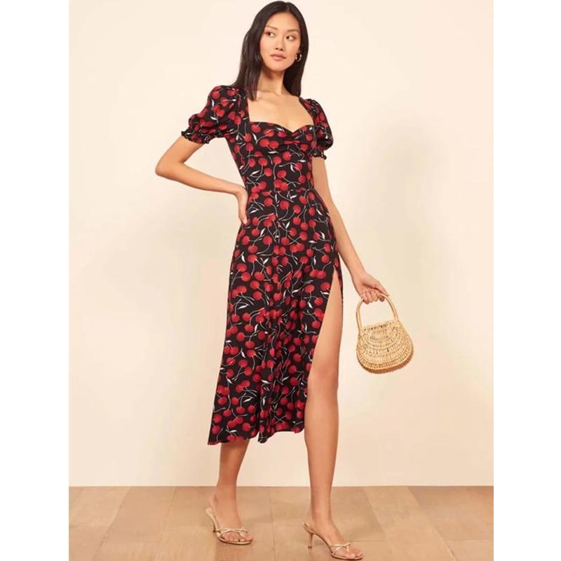 Slim Fruit Print Puffy Sleeves Square Neck High Split Dress