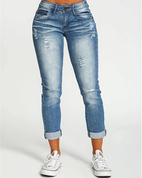 Ripped Roll Up Hem Skinny Jeans