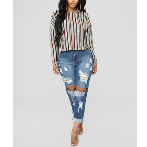 Ripped Hem Straight Leg Jeans