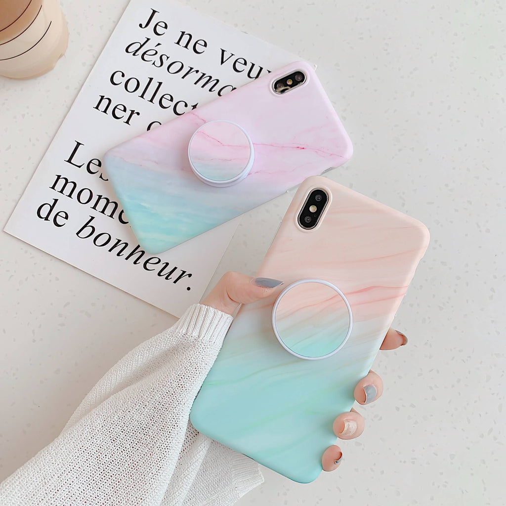 Gradient Shockproof Marble iPhone Case with Phone Holder