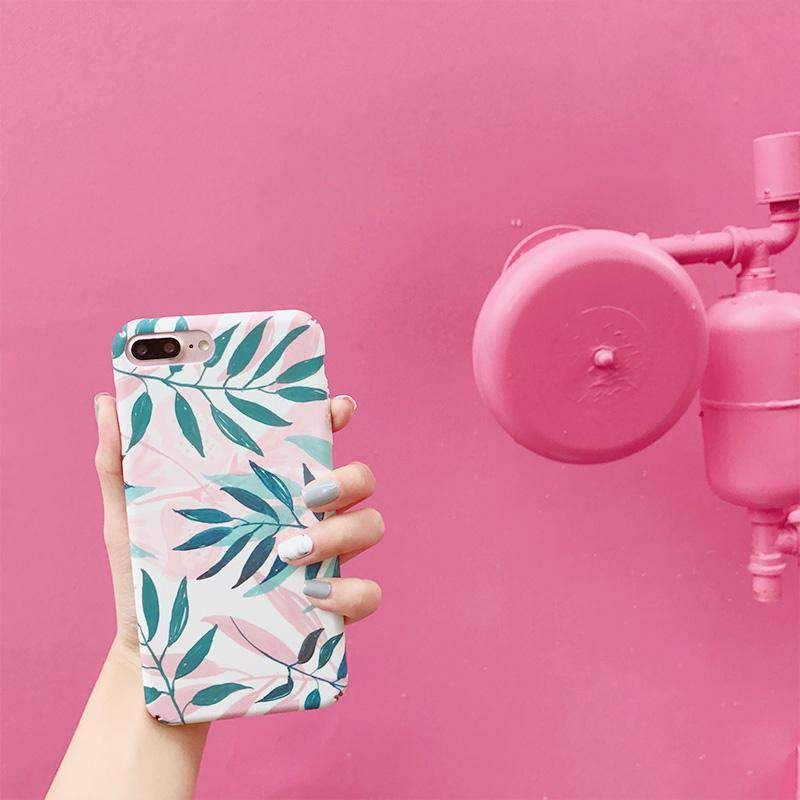 Pink Summer Vibe Leaf iPhone Case