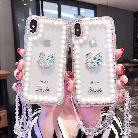 Clear Transparent Pearl Trim Deco Phone Case for Samsung with Hand Strap gallery 2