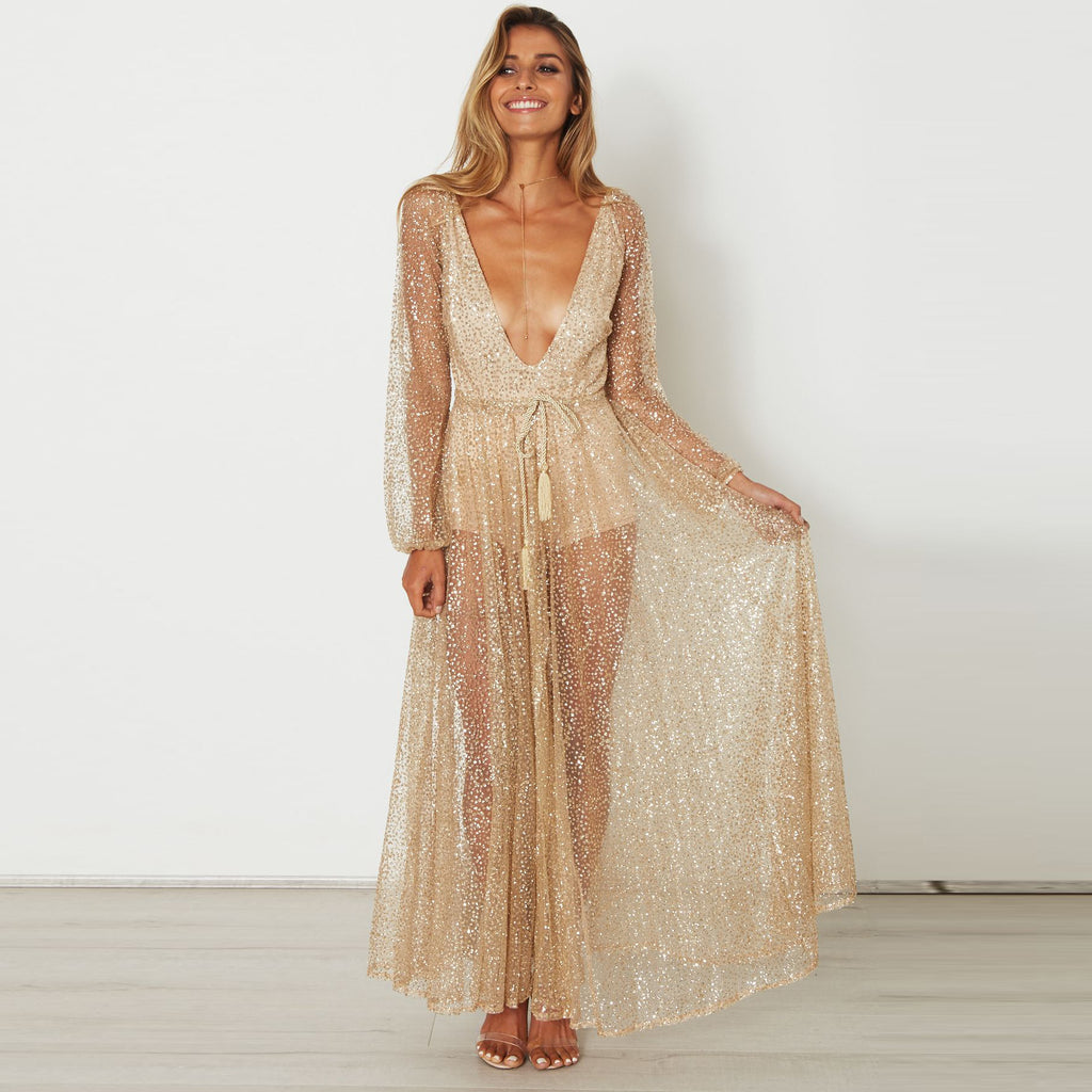 Glitter Sequins Plunge Puff Sleeve Tied Waist Maxi Dress