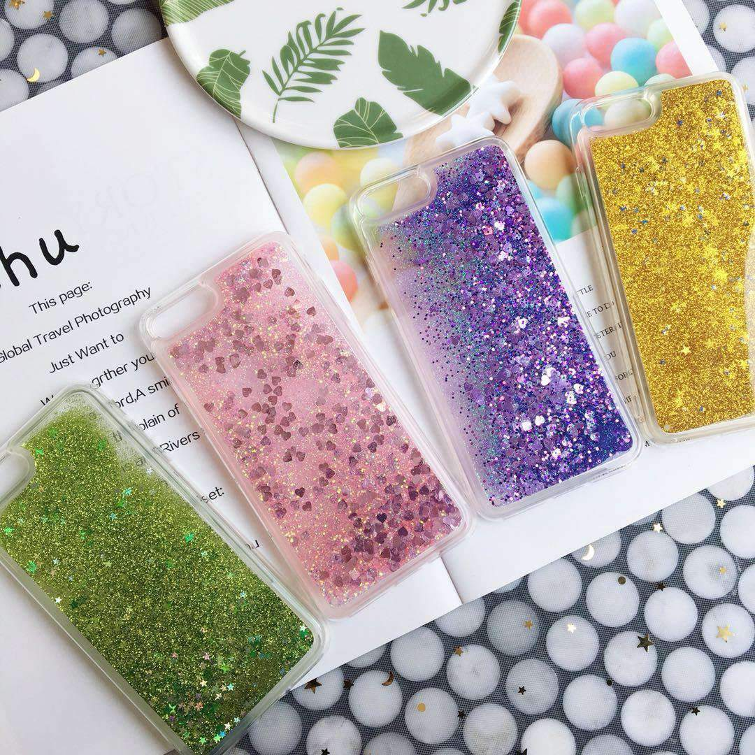 Chic Pure Color Star Fragments Liquid Bling Glitter iPhone Case
