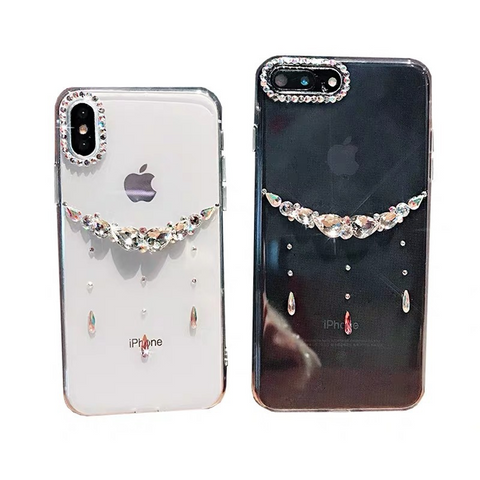 Asymmetric Rhinestone Clear Transparent Phone Case for Samsung gallery 4