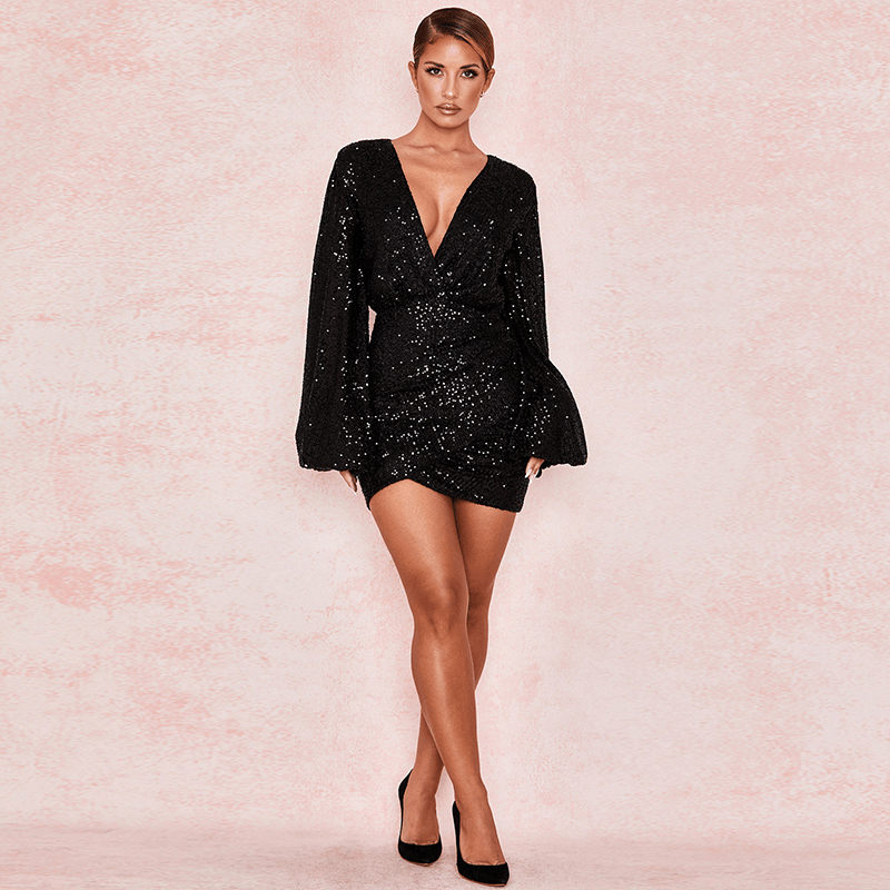 Black Sequin Glitter Plunge Balloon Sleeve Slinky Dress