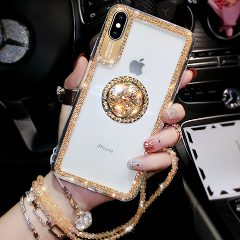 Luxury Crystal Stud Edge iPhone Case with Phone Holder and Hand Strap gallery 3