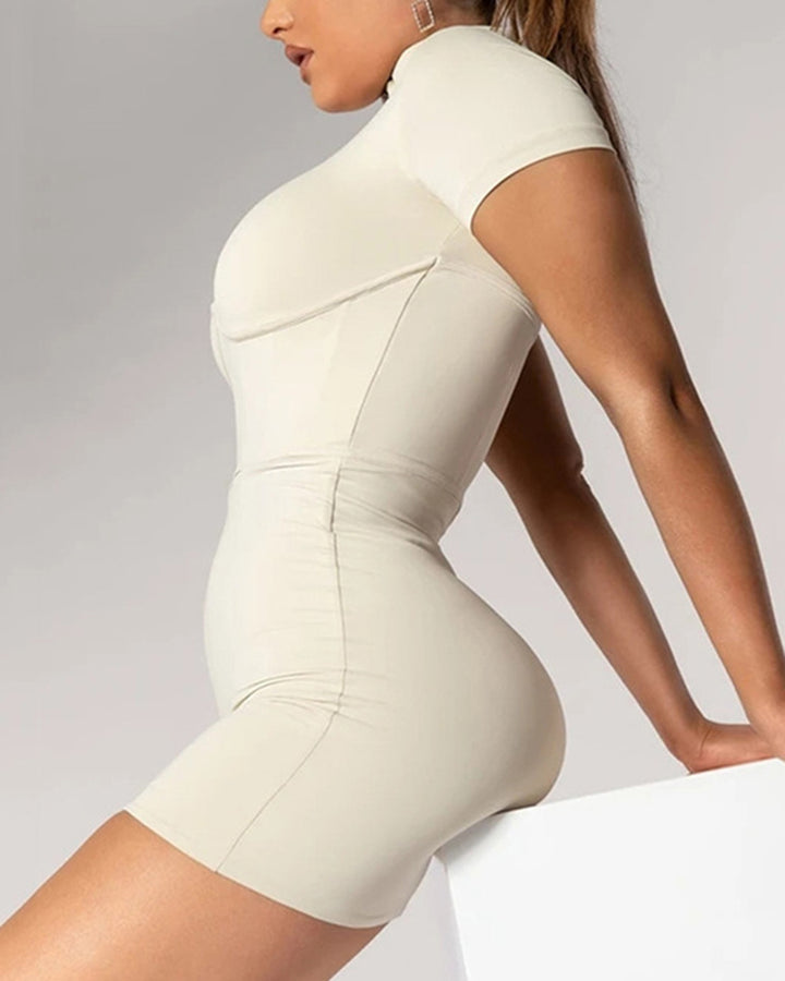 Zip Up Form Fitted Sports Romper gallery 3