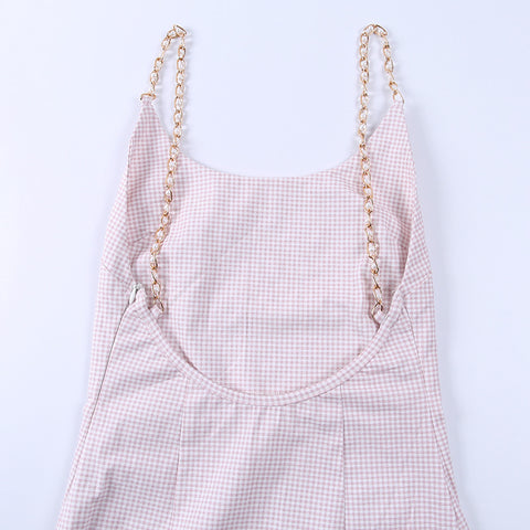 Pearl Twisted Strap Backless Pink Mini Dress gallery 12