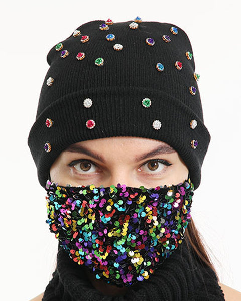 2pcs Rhinestone & Sequin Decor Face Mask & Beanie gallery 3