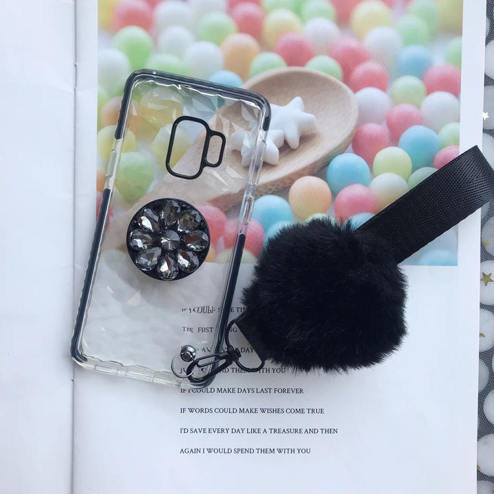 Diamond-shaped Phone Case for Samsung with Phone Holder and Pom-pom gallery 3
