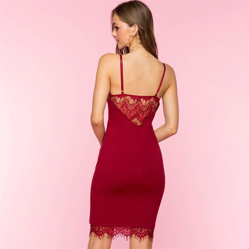 Solid Color V-Neck Strappy Lace Detail Bodycon Dress