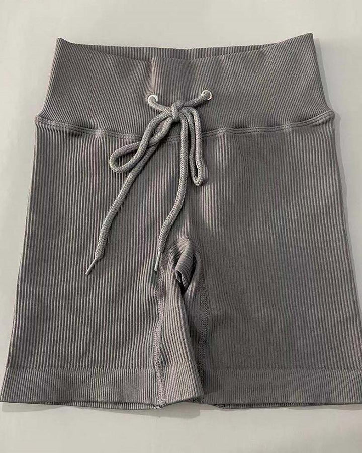 Solid High Waist Drawstring Front Sports Shorts gallery 2