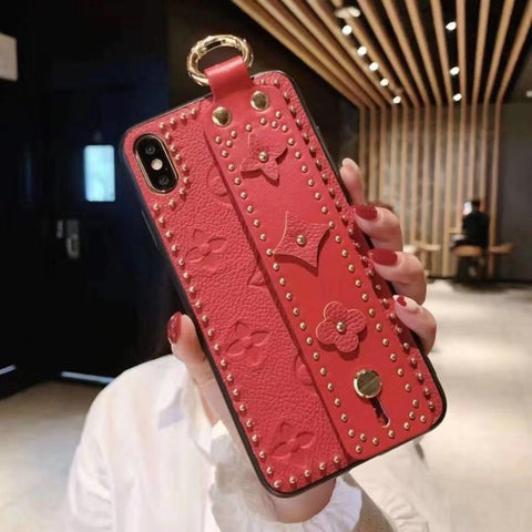 Chic Rivet Designed Four Leaf Clover Phone Case for Samsung with Wrist Strap gallery 4