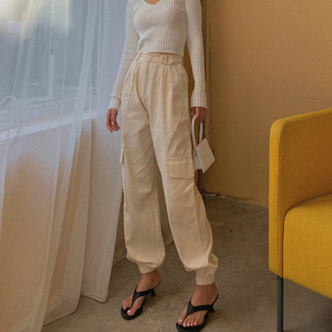 High Waist Straight Leg Cargo Trousers gallery 9